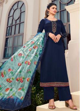 Prachi Desai Navy Blue Satin Designer Palazzo Salwar Kameez
