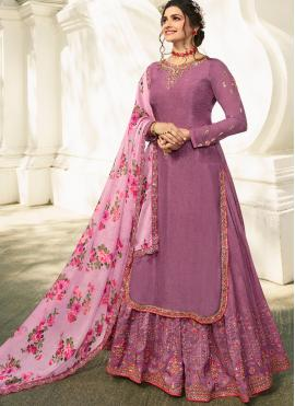 Prachi Desai Purple Satin Embroidered Long Choli Lehenga