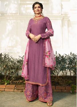 Prachi Desai Stone Work Purple Satin Designer Palazzo Salwar Kameez