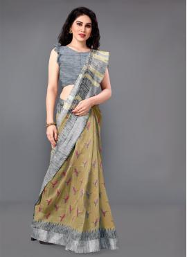 Praiseworthy Cotton Printed Beige Casual Saree