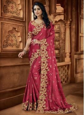 Praiseworthy Patch Border Pink Satin Classic Designer Saree