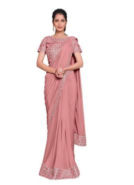 Precious Pink Lycra Designer Saree