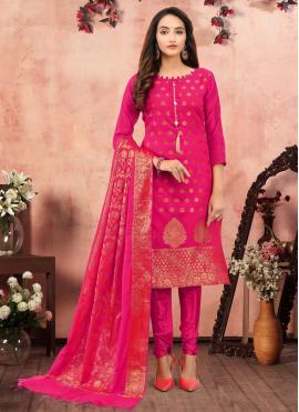Precious Printed Hot Pink Banarasi Silk Churidar Salwar Suit