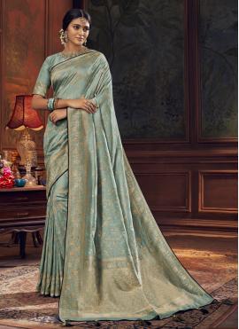 Preferable Aqua Blue Silk Traditional Saree