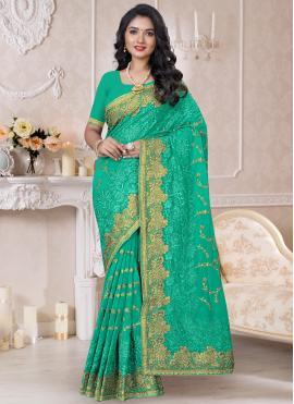 Preferable Georgette Embroidered Green Contemporary Saree