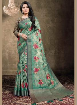 Preferable Jacquard Digital Print Green Contemporary Saree