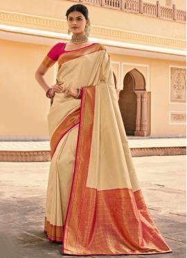Preferable Woven Silk Cream Designer Saree