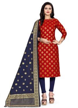 Prepossessing Banarasi Silk Weaving Red Churidar Designer Suit