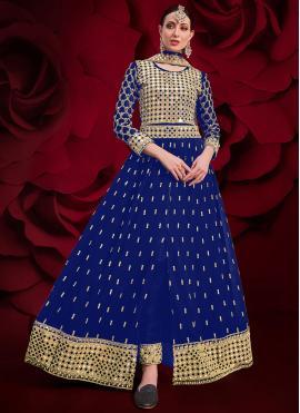 Prepossessing Blue Resham Faux Georgette Floor Length Anarkali Suit