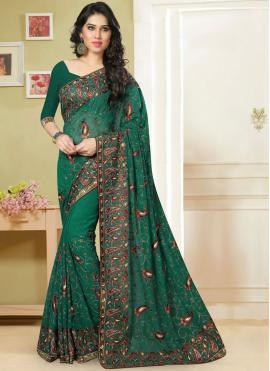 Prepossessing Georgette Green Classic Saree