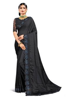Prepossessing Satin Silk Black Patch Border Designer Saree