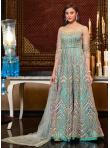 Prepossessing Sequins Net Aqua Blue Floor Length Anarkali Suit - 1