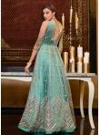 Prepossessing Sequins Net Aqua Blue Floor Length Anarkali Suit - 2