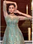 Prepossessing Sequins Net Aqua Blue Floor Length Anarkali Suit - 3
