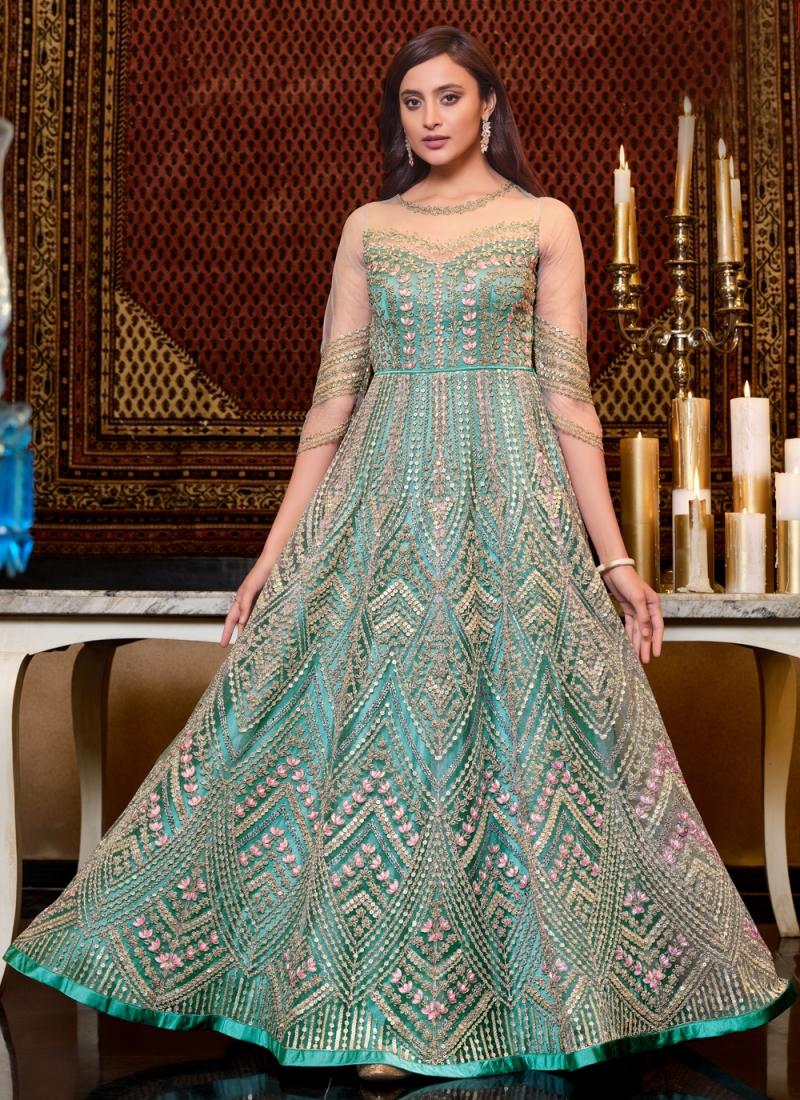 Prepossessing Sequins Net Aqua Blue Floor Length Anarkali Suit