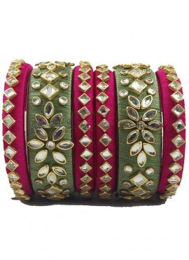 Pretty Olive Green And Dark Pink Colour Bangles