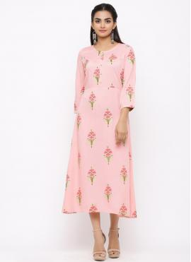 Pretty Pink Cotton Casual Kurti