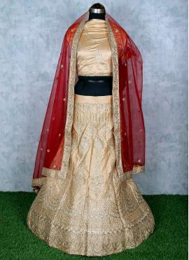 Pretty Satin Embroidered Lehenga Choli