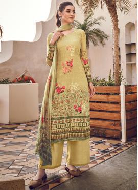 Pretty Silk Digital Print Yellow Designer Pakistani Suit