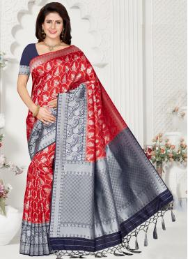 Pretty Weaving Silk Red Trendy Saree