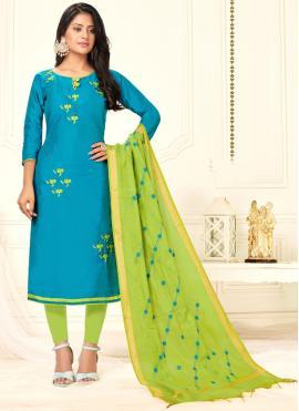 Prime Embroidered Cotton Blue Salwar Kameez