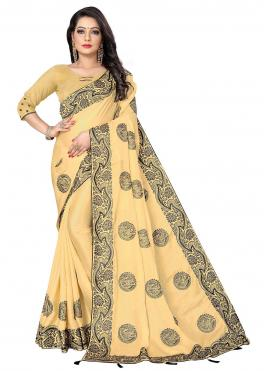 Prime Fancy Fabric Yellow Embroidered Designer Saree