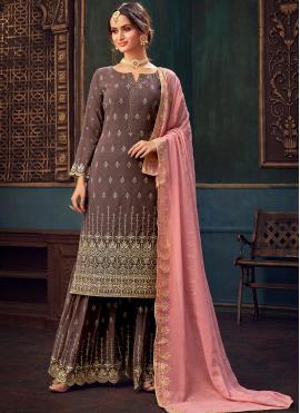 Princely Mauve  Embroidered Designer Pakistani Suit