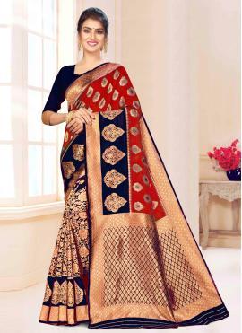 Princely Weaving Blue and Maroon Banarasi Silk Bollywood Saree