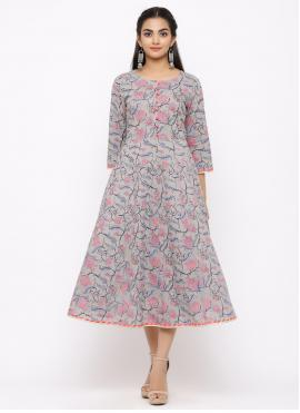 Print Cotton Casual Kurti in Grey