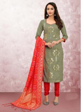 Print Cotton Churidar Designer Suit in Green
