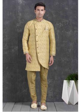 Print Jacquard Silk Indo Western in Cream
