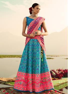 Print Silk Readymade Lehenga Choli in Blue