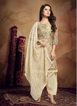 Printed Chanderi Designer Patiala Salwar Kameez in Yellow