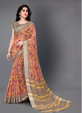 Printed Cotton Classic Saree in Multi Colour
