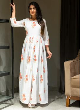 Printed Cotton Gown  in Off White
