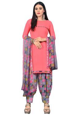 Printed Fancy Fabric Patiala Suit in Peach