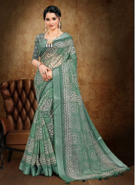 Printed Saree Abstract Print Cotton in Sea Green