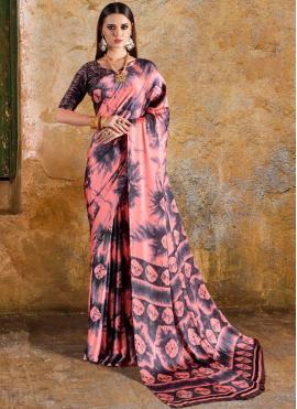 Printed Saree Print Faux Crepe in Multi Colour