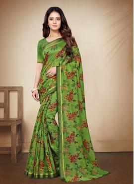 Printed Saree Printed Cotton Silk in Green