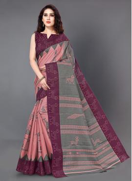 Printed Silk Trendy Saree in Peach
