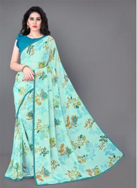 Pristine Aqua Blue Floral Print Faux Georgette Classic Saree