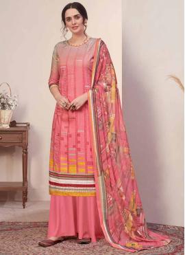 Pristine Cotton Pink Designer Palazzo Suit