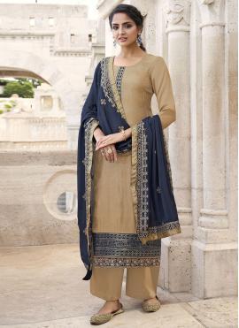 Pristine Faux Chiffon Beige Embroidered Designer Palazzo Salwar Suit