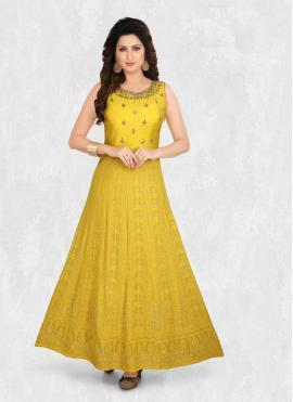Pristine Georgette Embroidered Yellow Designer Kurti