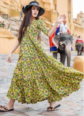 Pristine Multi Colour Printed Readymade Designer Gown