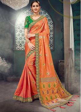 Prodigious Bhagalpuri Silk Orange Embroidered Classic Saree