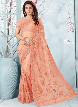Prodigious Peach Net Designer Traditional Saree