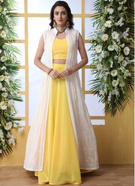 Prodigious Weaving Faux Georgette Designer Lehenga Choli