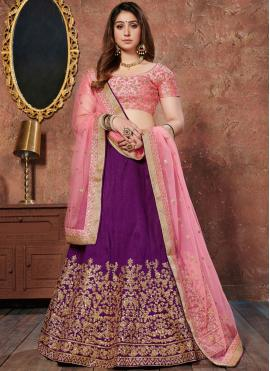Prominent Art Silk Resham Purple Lehenga Choli