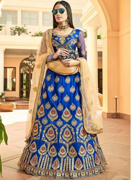 Prominent Blue Lace Art Silk Lehenga Choli